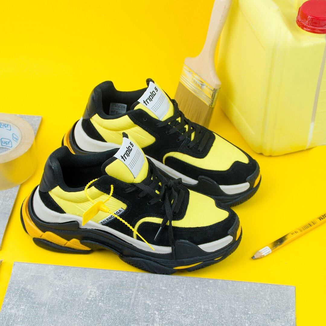 Balenciaga Triple S Black and Yellow ( Реплика ААА+ ), 41