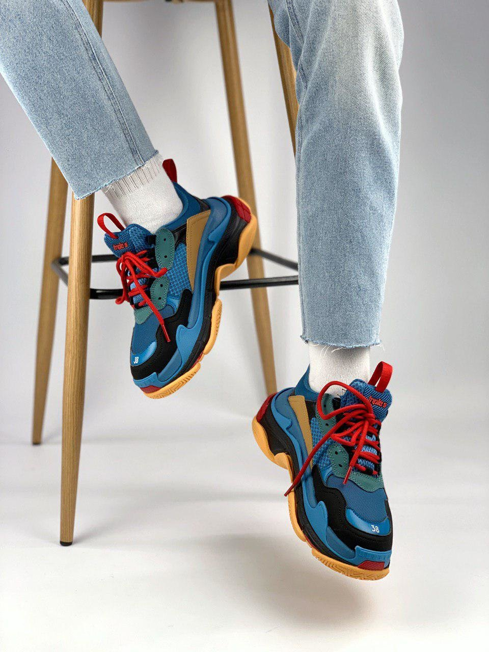 Balenciaga Triple S Blue Orange ( Реплика ААА+ ), 36