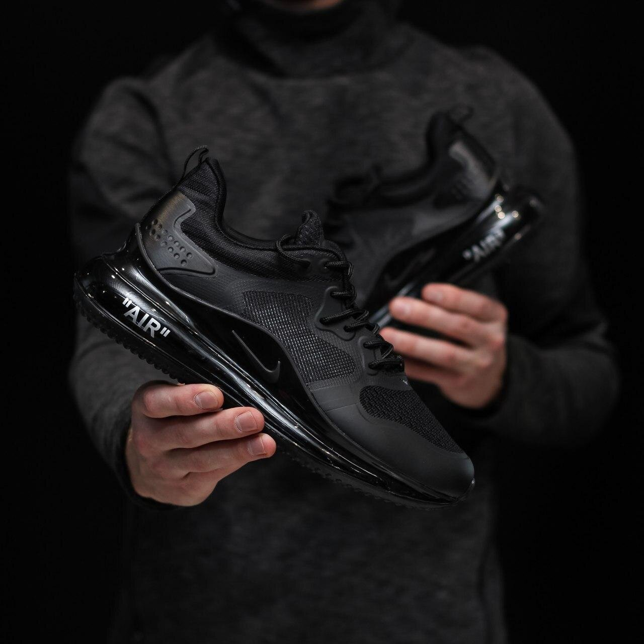 Кроссовки NK Air Max 720 V2 Full Black ( Реплика ААА+ ), 41