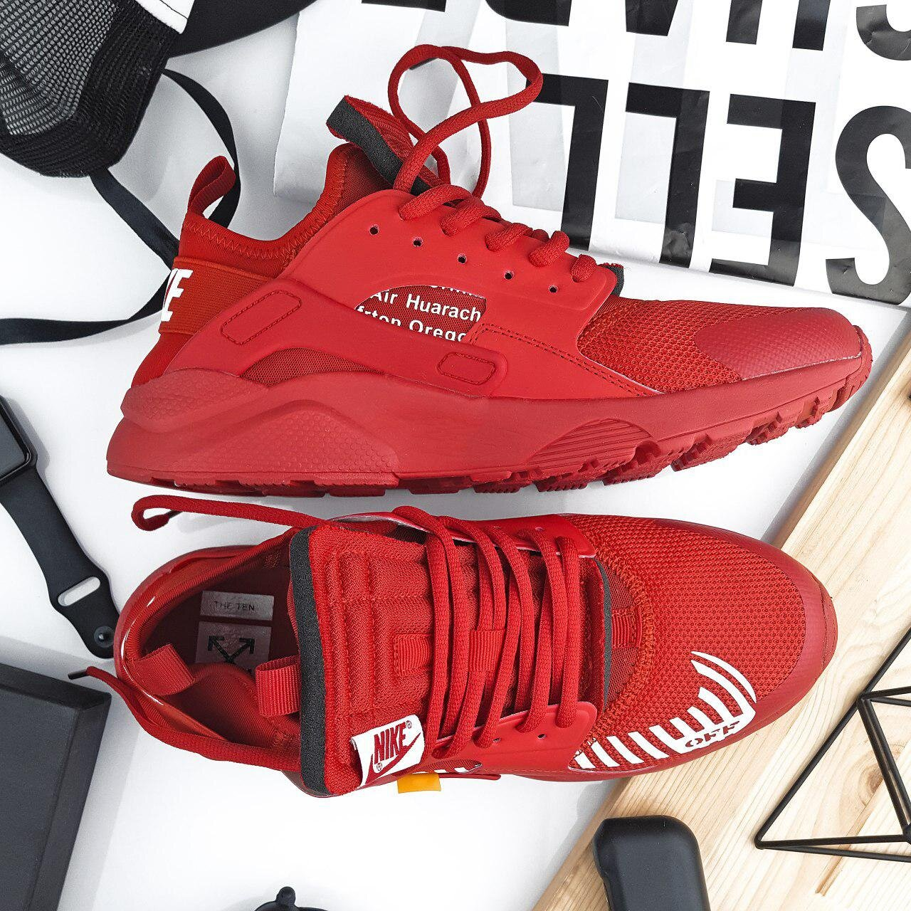 Кроссовки NK Huarache Red Off White ( Реплика ААА+ ), 41