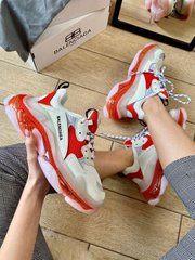 Balenciaga Triple S Clear Sole White Red ( Реплика ААА+ ), 36